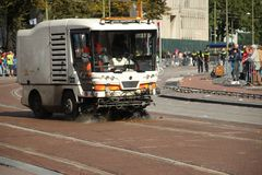 Streets were cleaned in The Hague. Streets  were cleaned after the parade with horses on prince day in The Hague, Netherlands Stock Image