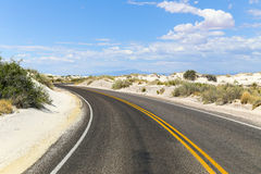 Streets into White Sands. Beginning of the dunes drive in the White Sands National Monument in New Mexico, USA Royalty Free Stock Photos