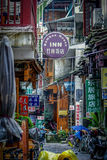 Streets of Yangshuo. Many signs in the street of Yangshuo, China Stock Photography