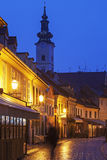 Streets of Zagreb old town and St. Mary's Church Royalty Free Stock Images
