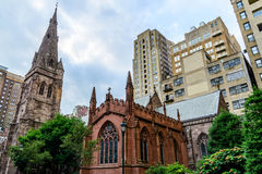 Streetscape with historic churches in Philly Royalty Free Stock Images