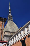Streetscape and Mole Antonelliana, Torino, Italy. Streetscape and Mole Antonelliana tower, in the city of Turin, Piemonte, Italy stock photo