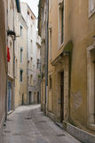 Streetscape in Nimes, France. This photo was taken at daybreak before people were up and milling about Royalty Free Stock Photos