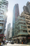 Streetscape of Sheung Wan in Hong Kong. HONG KONG, CHINA - JAN. 3, 2015: Streetscape of downtown area around Sheung Wan region on Jan. 3, 2015 in Hong Kong Royalty Free Stock Images