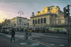 Streetscape: Vienna State Opera royalty free stock images