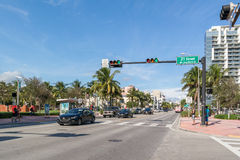 Streetscene南海滩的,迈阿密林斯Ave 库存图片