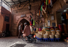 Streetscene in medina of Marrakech, Morocco Royalty Free Stock Image