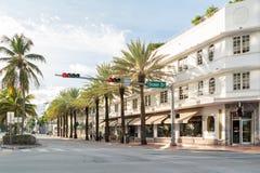 Streetscene of 5th Street in Miami Beach, Florida Stock Photos