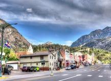 Streetside sikt av Silverton, Colorado arkivfoto
