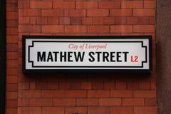 Streetsign Calle de Mathew Imagenes de archivo