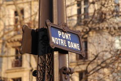 Streetsign di Pont Notre Dame Fotografia Stock