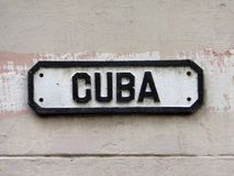 Streetsign przy Stary Hawańskim w Kuba Zdjęcie Stock