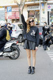 chiara ferragni Streetstyle scene during the fashion week Royalty Free Stock Photography
