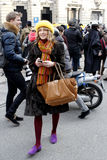 Streetstyle scene during the fashion week Stock Photography