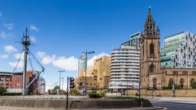 Streetview利物浦教区教堂在利物浦 免版税图库摄影