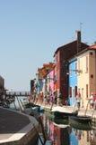 Streetview острова Burano, Италии Стоковое фото RF