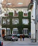 Streetview aan Nyon Van de binnenstad, Zwitserland stock foto