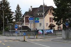 Streetview aan Nyon, Zwitserland royalty-vrije stock fotografie