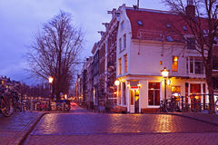 Streetview with amsterdam cafe in the Netherlands Royalty Free Stock Image