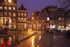 Streetview in Amsterdam the Netherlands. By night Royalty Free Stock Photography