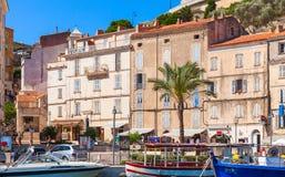 Streetview costiero di Bonifacio, Corsica Fotografie Stock Libere da Diritti