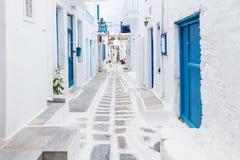 Streetview de Mykonos, Grecia Foto de archivo libre de regalías