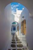 Streetview de Mykonos, Grecia Foto de archivo