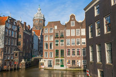 Streetview with dome of St. Nicolas Church in Amsterdam Royalty Free Stock Photo