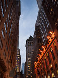 Streetview of the Financial District at night Royalty Free Stock Images