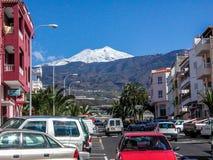 Streetview fino al vulcano Teide Fotografia Stock