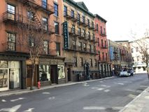 This is a streetview located on a studio lot simulating a historical town setting such as New York City where old movies. Were filmed stock photography
