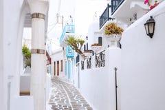 Streetview Mykonos miasteczko Zdjęcie Stock