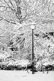Streetview in neve con il lamp-post e la bici Fotografia Stock Libera da Diritti