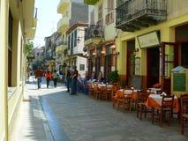 Streetview restauracyjny taverna Ateny Grecja Obraz Stock