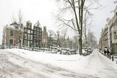 Streetview from snowy Amsterdam Netherlands Stock Image