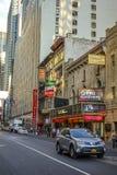 Streetview sur la rue New York de W47th photo libre de droits