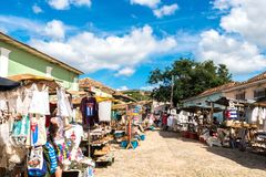 Streetview of town market in Trinidad Cuba, sunny day, beautiful buildings stock image