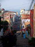 Streetview valparaiso chile colorful wall paintings Royalty Free Stock Photography
