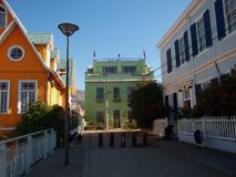 Streetview valparaiso chile colorful wall paintings Royalty Free Stock Photo