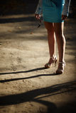 Streetwalker. Prostitution concept ,selective focus on nearest leg Royalty Free Stock Photography