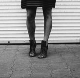 Streetwalker. Female legs on the street, black and white toned Stock Photography