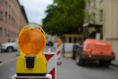 Streetworks ahead. Warning sign that there is an obstacle ahead Royalty Free Stock Photos