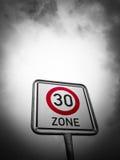 30 strefa szyldowa, prędkości ograniczenie Zdjęcie Stock