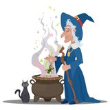Strega anziana che fa una pozione con un gatto in un calderone illustrazione di stock