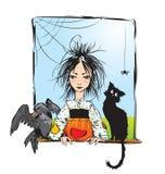 Strega del bambino con il gatto nero, corvo Immagini Stock