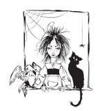 Strega del bambino con il gatto nero, il corvo ed il ragno Fotografie Stock Libere da Diritti