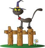 Strega del gatto nero su una rete fissa Fotografie Stock Libere da Diritti