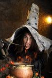 Strega di Halloween che cucina in un calderone di rame Fotografia Stock