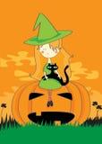 Strega di Halloween con il gatto Immagini Stock