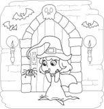 Strega di Halloween di coloritura piccola Fotografia Stock Libera da Diritti
